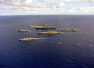 USS Meyerkord (FF-1058) - Meyerkord at bottom, with the Midway battlegroup in 1983.