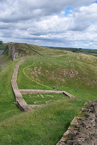 Hadrian's Wall Path - The remains of Milecastle 39 (Castle Nick), a short distance east of Steel Rigg and Peel Crags