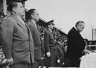 Keizō Hayashi - Prime Minister Shigeru Yoshida (right) and Hayashi (third from left) in the foundation ceremony of the National Safety Force in 1952.
