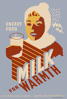 Milk for warmth, WPA poster, 1941