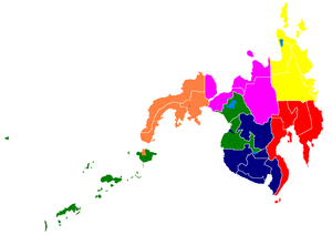 2009 Mindanao bombings - Colour-coded map of the Mindanao archipelago