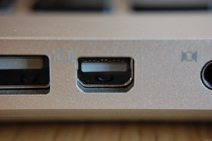 Close-up of the Mini DisplayPort on Apple MacB...
