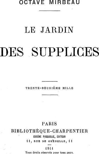 Picture of a book: Le Jardin Des Supplices