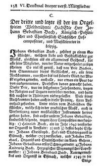 Bach's Nekrolog cover
