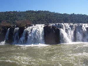 Uruguay River - The Moconá Falls (also known as the Yucumã Falls), where the river passes between Argentina and Brazil, are up to 3 km wide