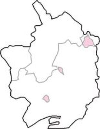 Monmouth Boroughs by-election, 1901 - The constituency as it existed 1885-1918 (shown in pink) within Monmouthshire