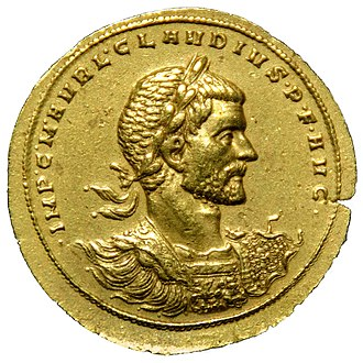 Claudius Gothicus - A rare gold medallion or 'multiple solidus' of Claudius Gothicus. Equivalent to 8 regular gold solidi. Part of the Lava Treasure. Museo Arqueológico Nacional de España