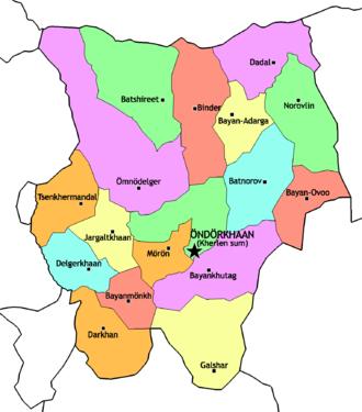 Khentii Province - Sums of Khentii aimag