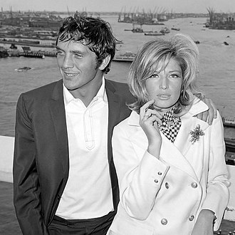 Terence Stamp - Stamp with actress Monica Vitti in 1965 during filming Modesty Blaise