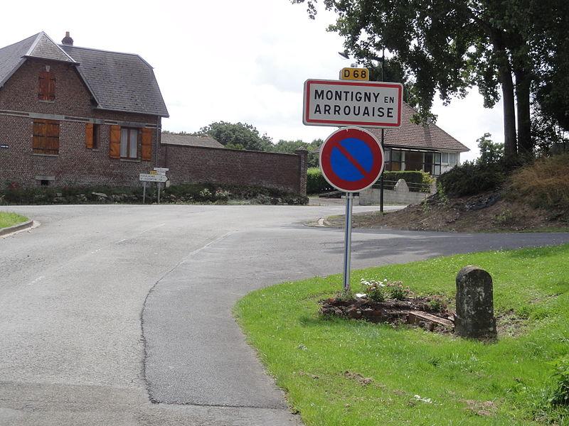 Montigny-en-Arrouaise (Aisne) city limit sign