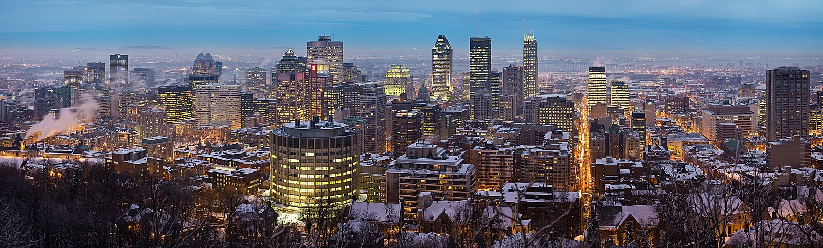 A panorama taken from the Chalet du Mont Royal at the top of Mount Royal, It is one of my favorite Montreal picture taken by a fellow wikipedian.
