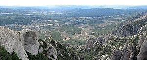 Montserrat (mountain) - Image: Montserrat panoramic, south west view towards Collbató and El Bruc
