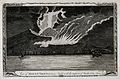 Mount Vesuvius by night, erupting with smoke, fire, and lava Wellcome V0025242.jpg