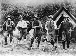 Edward FitzGerald (mountaineer) - Mountaineers in the Tasman Valley of New Zealand (from left): Matthias Zurbriggen, Fizgerald, Arthur Ollivier, George Edward Mannering and Jack Adamson