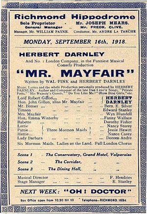 Herbert Darnley - Poster for Mr. Mayfair, Richmond Hippodrome, 1918.
