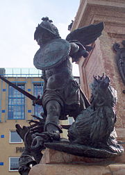 A putto kills a basilisk, symbolic of Swedish occupiers and Protestant heresy, on the Mariensäule, Munich, erected in 1638