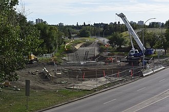 Muttart stop - Image: Muttart LRT Station construction