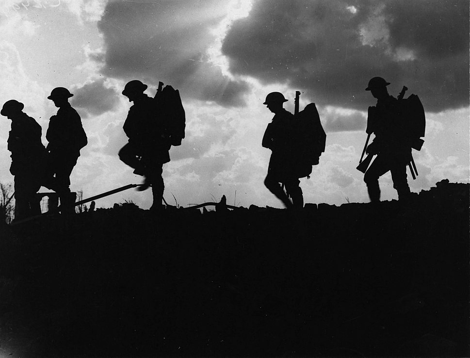 NLS Haig - Troops moving up at eventide - men of a Yorkshire regiment on the march (cropped)