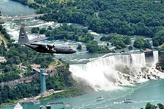 Niagara Falls Air Reserve Station - Image: NYANG C 130 over Niagara Falls NY