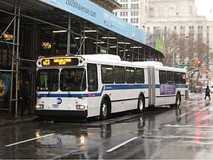 M23 (New York City bus) - A Chelsea Piers-bound M23 bus at Fifth Avenue, prior to SBS implementation.