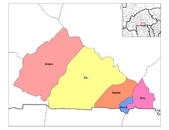 Pô - Departments of Nahouri: Pô (department) is marked by yellow
