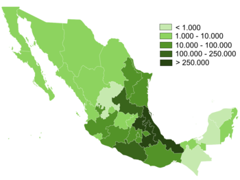 Distribution of Nahuatl speakers per state.