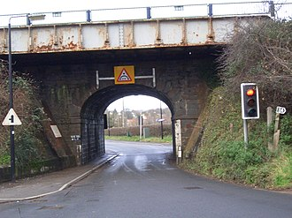 Nailsea and Backwell railway station - The road between Nailsea and Backwell passes under the station.