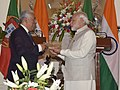 Narendra Modi gifts to the Prime Minister of Portuguese Republic, Mr. Antonio Costa, his father's novel, translated to English, through the Embassy of India in Portugal, at Hyderabad House, in New Delhi.jpg
