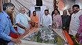 Narendra Modi watching the model of AIIMS Gorakhpur, during the foundation stone laying ceremony of the AIIMS Gorakhpur & for the revival of Gorakhpur Fertilizer plant, at Sports Ground, FCI, in Gorakhpur, Uttar Pradesh (1).jpg