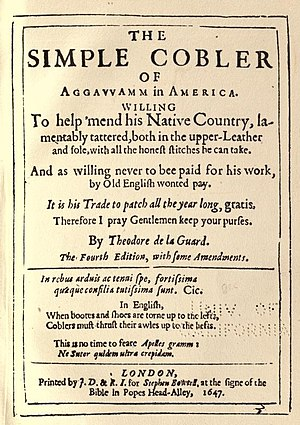 Nathaniel Ward - The title page of Nathaniel Ward's book The Simple Cobler of Aggawamm in America (4th ed., 1647). The first edition of the book was published in the same year.