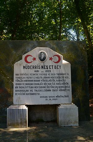 Neşet Suyu Nature Park - Memorial inscription for Professor Neşet Bey inside the nature park.