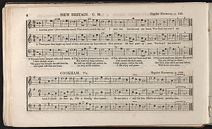"Amazing Grace - An 1847 publication of Southern Harmony, showing the title ""New Britain"" and shape note music."