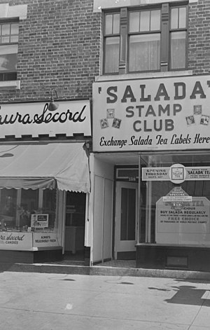 "Salada tea - ""Salada Stamp Club"" in Montreal to exchange Salada Tea labels with postage stamps of the British colonies"
