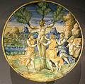 Ngv, maiolica di urbino, piatto con mirna partorisce adone, 1550.JPG