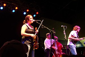 Nickel Creek - Sara Watkins, Mark Schatz, and Chris Thile touring in 2003 after the release of This Side.