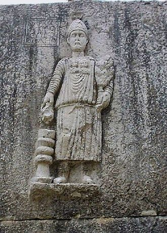 Temples of Mount Hermon - Statue at the Roman temple at Niha, Lebanon