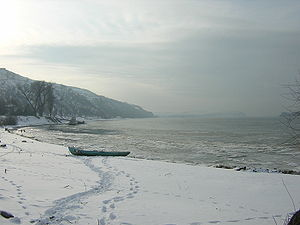 Nikopol, Bulgaria - View of the Danube at Nikopol in winter