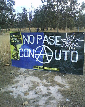 Anarchism in Mexico - Anarchist anti-deforestation banner in Mexico.