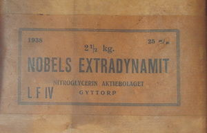 "Dynamite - ""Nobels ExtraDynamit"" manufactured by Nobel's old company, Nitroglycerin Aktiebolaget"