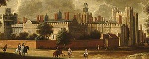 Nonsuch Palace - Detail of Nonsuch Palace from the North East, circa 1666–1679, attributed to Hendrick Danckerts