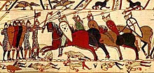 Rappresentazione medioevale di una carica della cavalleria Normanna (arazzo di Bayeux)