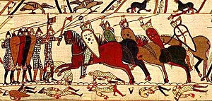 Viking Age arms and armour - Battle scene from the Bayeux Tapestry, depicting kite shields