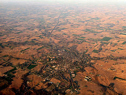 Most of northern and central Indiana is flat farmland dotted with small cities and towns, such as North Manchester.