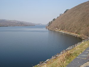 English: North Side of Llyn Padarn Thickly woo...