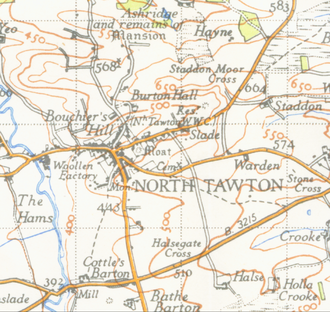 North Tawton - Map of North Tawton from 1946