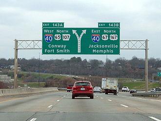 Central Arkansas - I-30 terminates at I-40 in North Little Rock