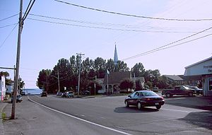 Notre-Dame-du-Nord, Quebec - Intersection of Route 101 and Rue Ontario, with Lake Timiskaming in the background