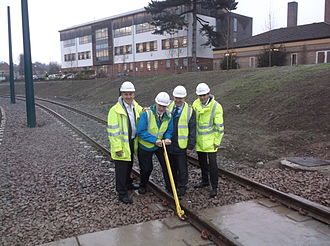 Nottingham Express Transit - Golden spike ceremony held on 27 November 2014 to mark the completion of trackwork on the Beeston and Chilwell line