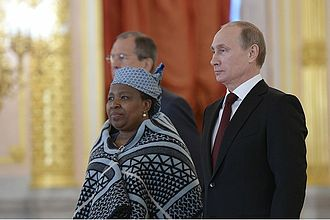 Lesotho–Russia relations - Lineo Ntoane with Vladimir Putin during her accreditation as ambassador of Lesotho to the Russian Federation on 27 June 2014