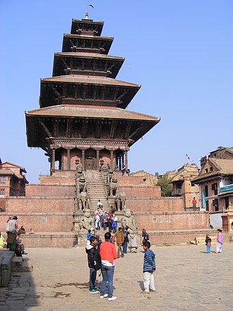 Nyatapola was erected by King Bhupatindra Malla in 1702 and is a major tourist attraction in the historical city of Bhaktapur. Nyatapola Temple.JPG